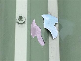 茅ヶ崎市柳島で折板屋根を調査、塗膜の剥がれは屋根塗装を行う目安になります