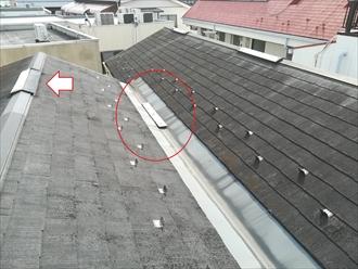 O様宅屋根、棟板金の飛散