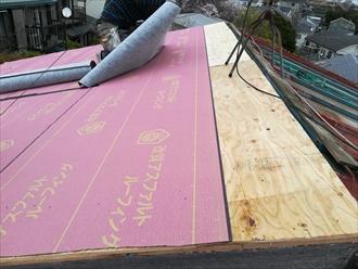 防水紙(ルーフィング)施工