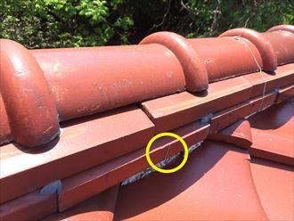 葉山町上山口で瓦屋根を調査、漆喰が変色して銅線が切れておりました