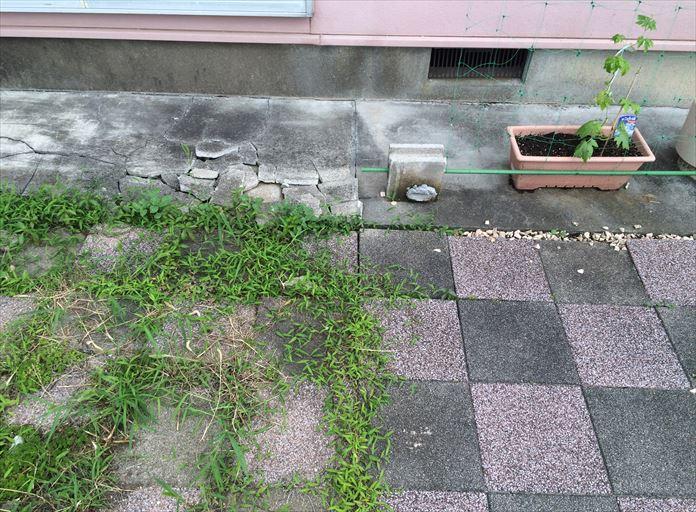 雨樋の水漏れが起こり続けた範囲だけお庭の状態が悪くなっている