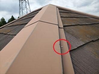 釘浮きによる棟板金の劣化