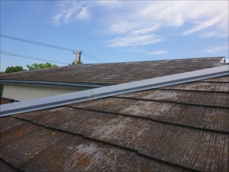 苔やカビで覆われているスレート屋根