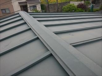 少し色褪せてはいますがモスグリーン調で塗られた屋根