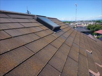 急勾配の屋根を上ってみると北側に多く苔などの汚れが確認できます