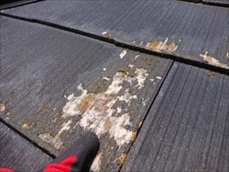 屋根材の塗膜がなくなりセメント瓦の素地が出てしまっている