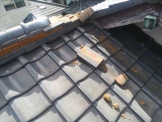 茅ヶ崎市東海岸南の倒壊した瓦屋根の棟瓦は、棟瓦取り直し工事で直せます
