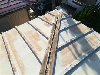 茅ヶ崎市赤羽根で瓦棒葺きの板金屋根の調査、棟板金が飛散して貫板が露出しておりました
