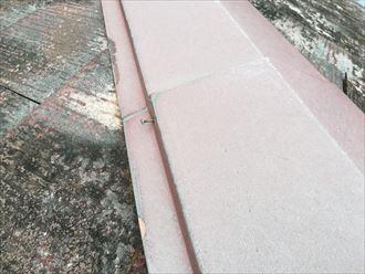 棟板金を固定している釘の抜け