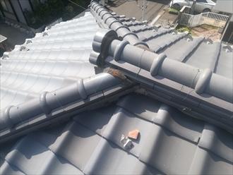 瓦屋根の漆喰の劣化