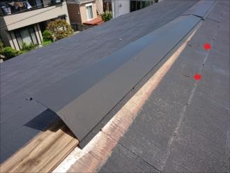強風の影響か、元々抜けかかっていたのか板金固定するための釘が抜けて屋根に残っていました