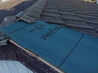 中郡二宮町富士見が丘 ケラバ板金工事 防水紙設置