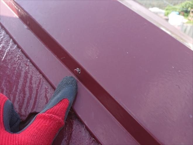 屋根をくまなく探しても、釘が浮いていたのは一か所のみ