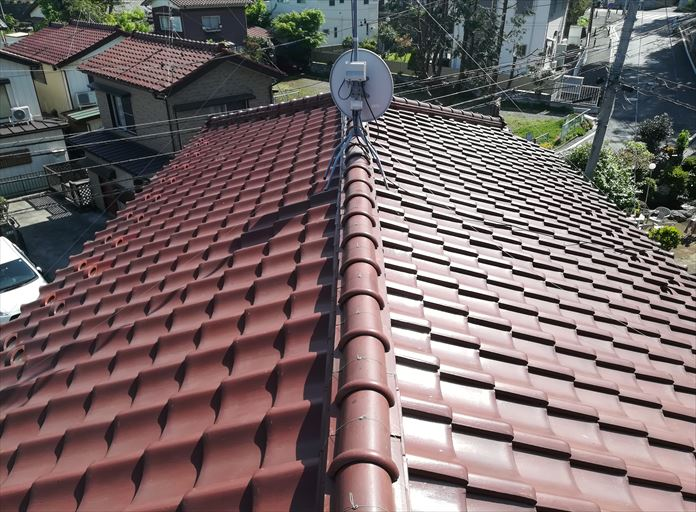 粘土瓦を使用した瓦屋根の点検