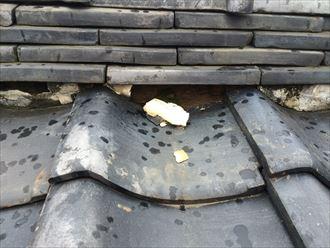 瓦の隙間に詰まってる漆喰が剥がれている