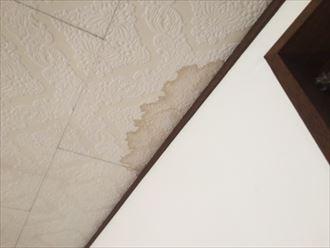 染みの濃さが雨漏りが発生してからの期間の長さを物語っている