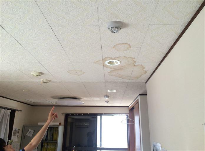 雨漏りが発生している天井に出来た染み