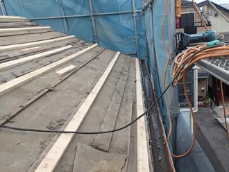横須賀市池上 屋根葺き替え工事 瓦桟設置