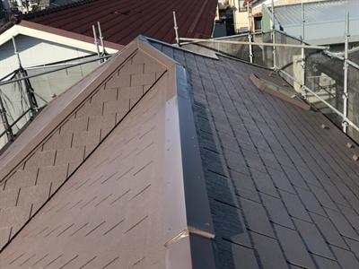 川崎市高津区北見方にて棟板金交換に合わせ屋根塗装・外壁塗装工事も実施