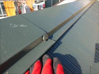 確かに塗装工事をしたであろう、ビス頭に屋根と同色のコーキングが打たれていました
