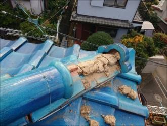 大和市桜森で台風被害、漆喰の劣化と台風により棟が倒壊してしまいました