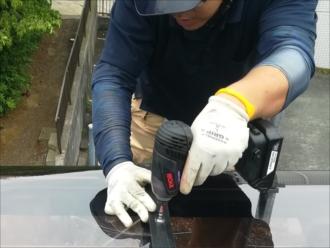 横浜市港北区小机町にて2階テラスポートパネル復旧工事の様子