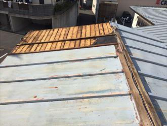 板金屋根が剥がれて野地板が露出