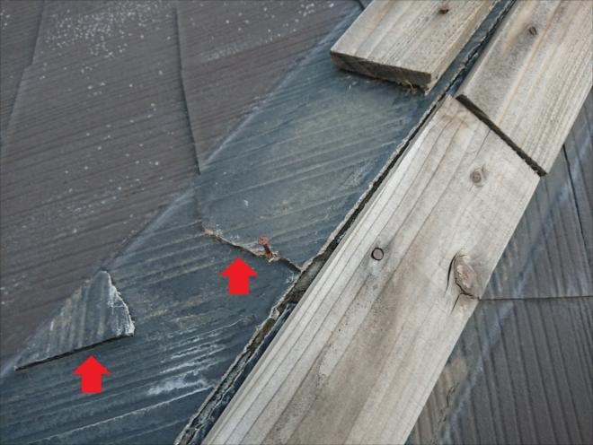 板金と貫板だけでなく化粧スレートも台風被害