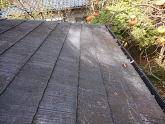 下屋根は二階よりも勾配が緩くさらに水はけが悪い状態です