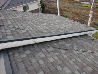 あまり勾配のついていない緩勾配の切妻屋根にはアスファルトシングルが使われていました