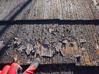 藤沢市湘南台では温水器が載っている化粧スレート葺き屋根が防水性を失い雨漏り寸前の状態でした