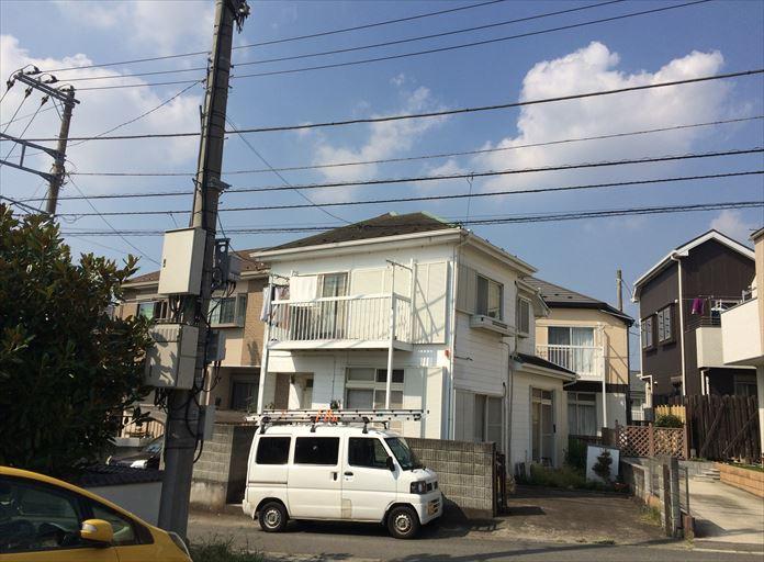 建物と距離を話して外部からまずは屋根を確認