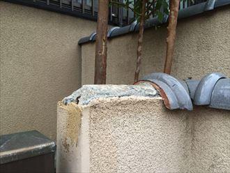 逗子市新宿で瓦の飛散、飛散したのは塀瓦(へいかわら)でした