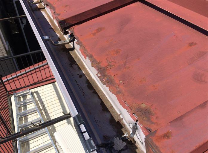 軒先が腐食した板金屋根