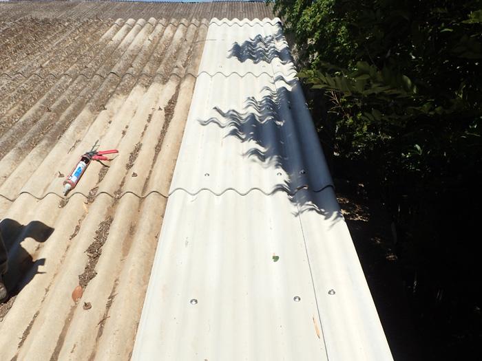 平塚市小鍋島 工場の大波スレート部分葺き替え工事 完了