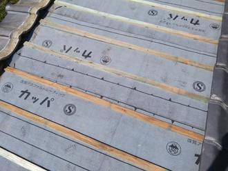 横須賀市湘南鷹取 屋根葺き直し工事 防水紙設置