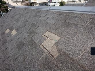 厚木市船子にて台風15号の影響でアスファルトシングル屋根材が飛散し防水紙が見えてしまっている状態でした