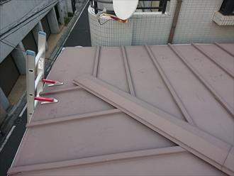 梯子をかけて屋根にあがると瓦棒葺きと判明