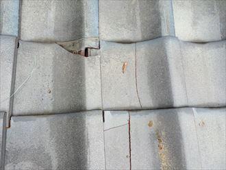 棟瓦の倒壊で周囲の瓦にも影響が出ます