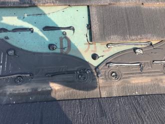 藤沢市円行 補修材を使ってスレートを補修
