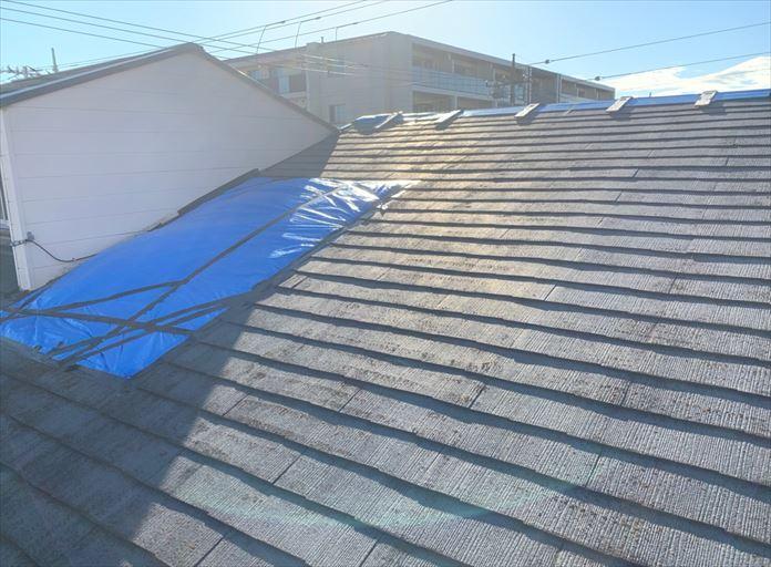 雨漏り養生を行ったスレート屋根