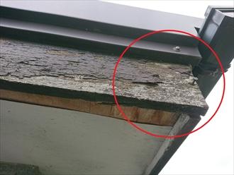 破風板が守られていないと軒天に雨水がまわります