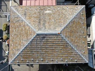 座間市座間でドローンを使用したスレート屋根の点検を行いました