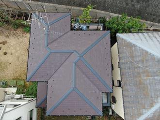 ドローンでスレート屋根全景を撮影