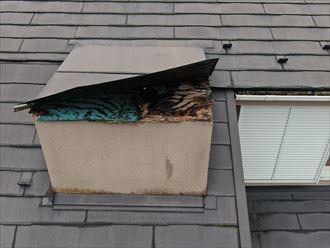 大和市桜森で梯子の架からない3階建て住宅の破損した屋根を、ドローンを使用して調査します