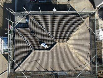 大和市渋谷でセメント瓦からエコグラーニ(エバーグリーン)へ葺き替えました