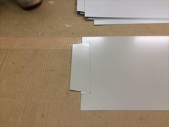 海老名市門沢橋で破風板に使用する板金に、ダクトハゼを造ります