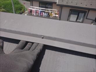 藤沢市城南で訪問業者に指摘されたスレート屋根の棟板金の浮き、不安解決の為に点検調査致しました