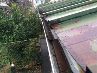 軒先用の水切りが軒樋の中に落ちている
