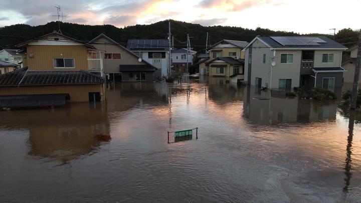 台風19号で水に浸かった町